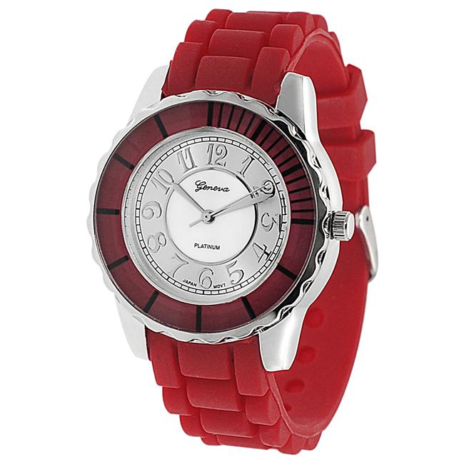 Geneva Platinum Women's Mother of Pearl Silicone Strap Watch
