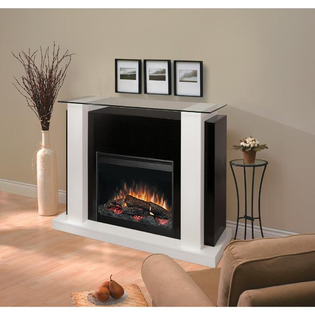 Dimplex Electric Flame Fireplace with Bold Design and Tempered Glass Top
