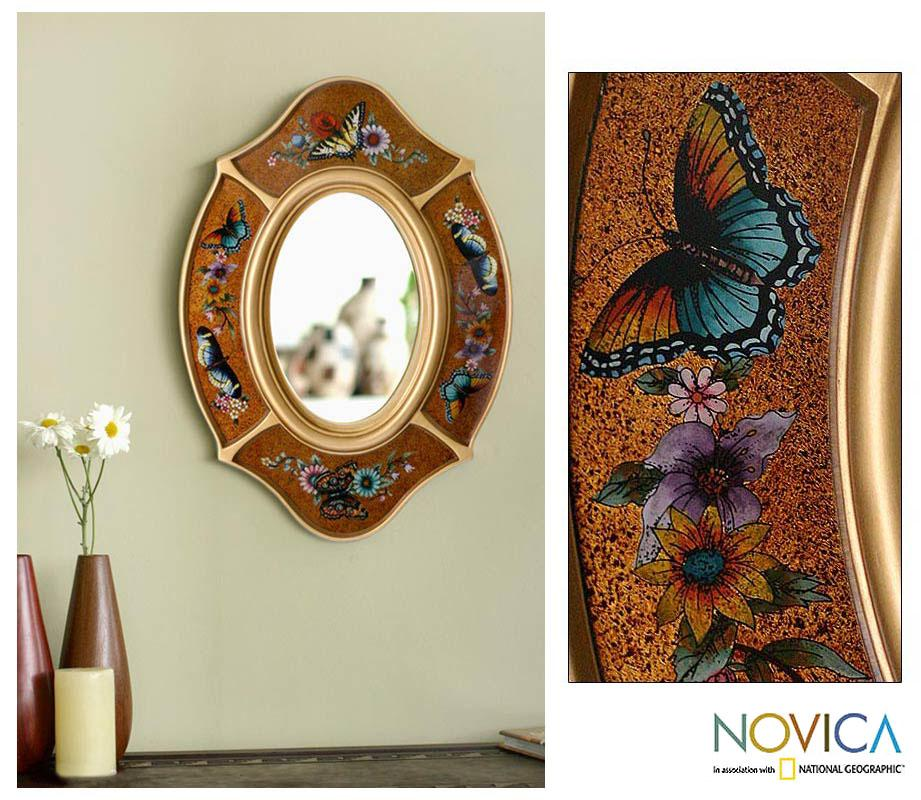 Handmade Reverse-painted Glass 'Autumn Butterfly' Wall Mirror (Peru) - Thumbnail 0