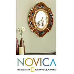 Handmade Reverse-painted Glass 'Autumn Butterfly' Wall Mirror (Peru) - Multi
