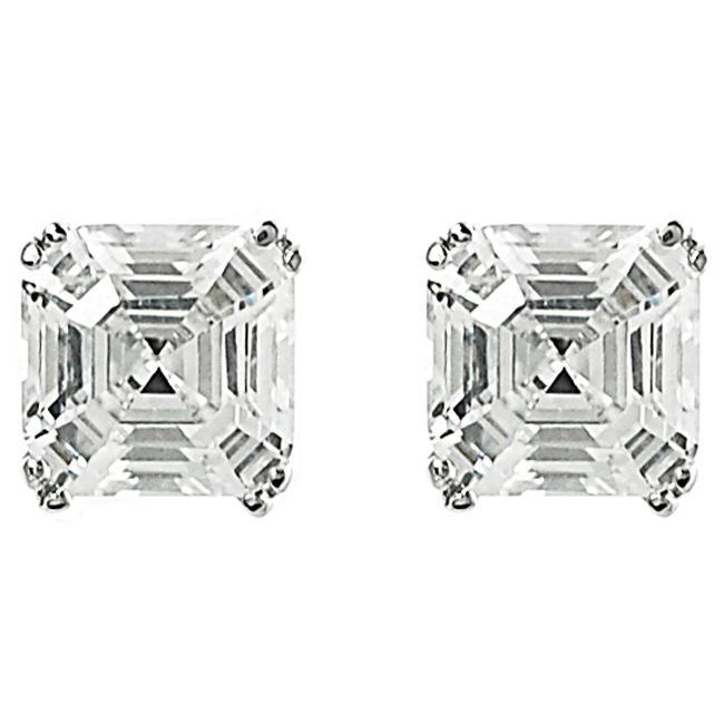 1db86b8adea6d Journee Collection Sterling Silver Asscher-cut Cubic Zirconia 6-mm Stud  Earrings