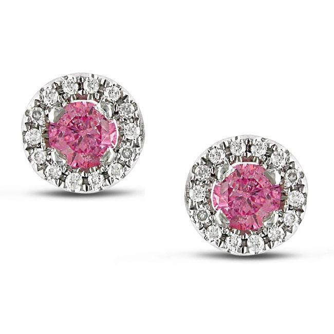 Miadora 14k White Gold 3/4ct TDW Pink and White Diamond Earrings