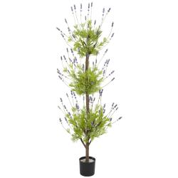 Silk 4-foot Potted Lavender Topiary Tree