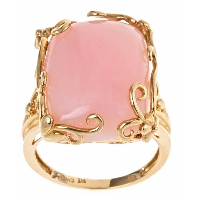 D'Yach 14k Yellow Gold Pink Opal Fashion Ring