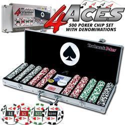 4 Aces 500 11.5G Poker Chip Set with Aluminum Case