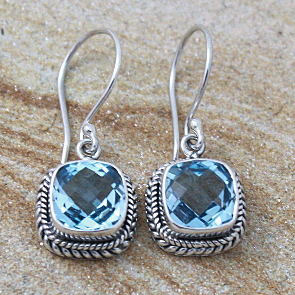 Handmade Silver Faceted Square Blue Topaz Bali Drop Earrings (Indonesia)