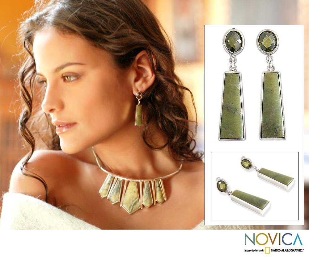 Sterling Silver 'Fortress' Serpentine Earrings (Peru) - Thumbnail 0