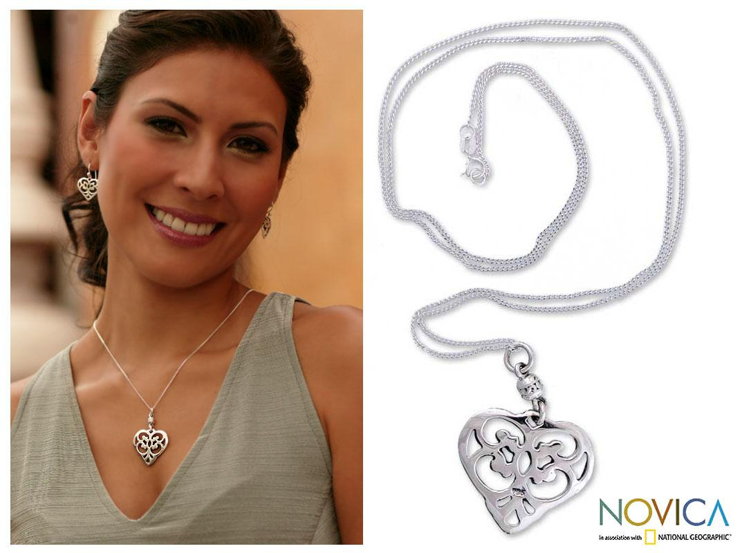 Sterling Silver 'Angel Heart' Long Necklace (Mexico)