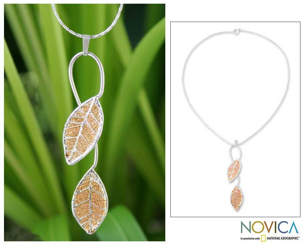 Goldplated 'Forest Filigree' Natural Leaf Necklace (Thailand)