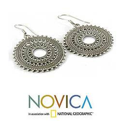 Sterling Silver 'Journey' Dangle Earrings (India)