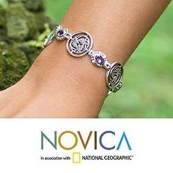 Sterling Silver 'Peace' Amethyst Floral Bracelet (Indonesia)