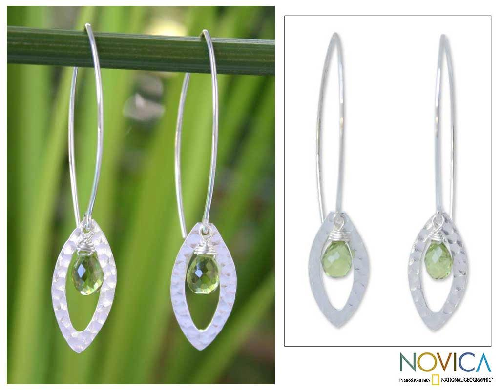 Sterling Silver Peridot 'Rose Petal' Floral Earrings (Thailand) - Thumbnail 0