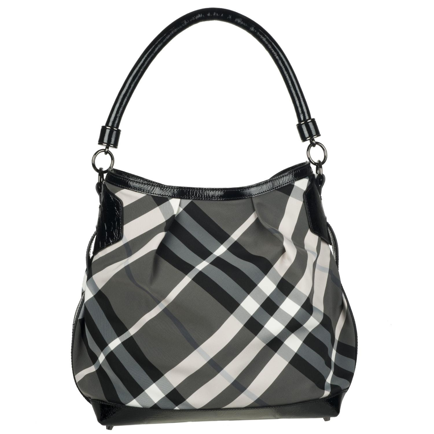 Burberry Black Nylon Check Print Hobo Bag Free Shipping