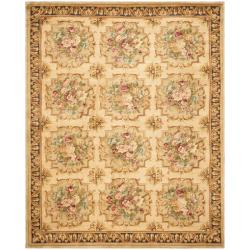 Asian Hand-knotted Savonnerie Beige Wool Rug (9' x 12')