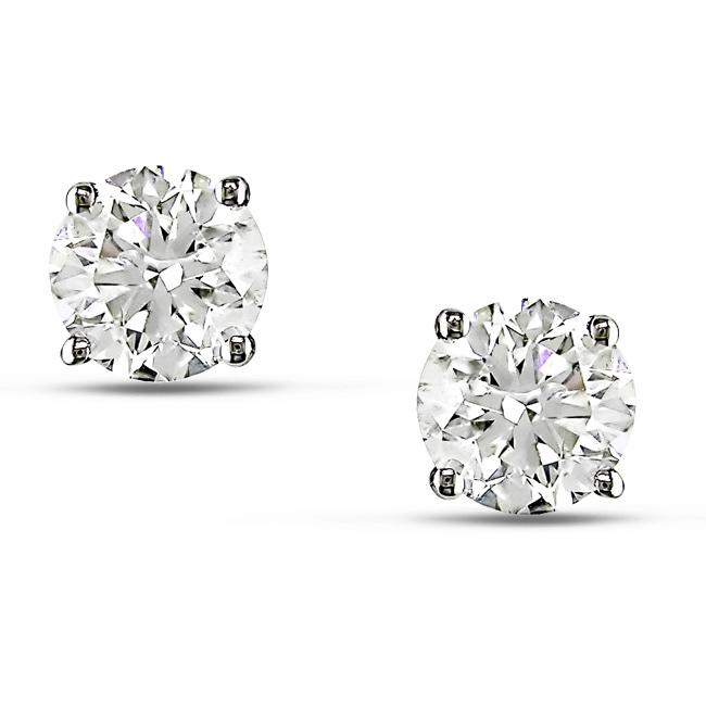 14k White Gold 1 2/5ct TDW Diamond Solitaire Earrings - Thumbnail 0