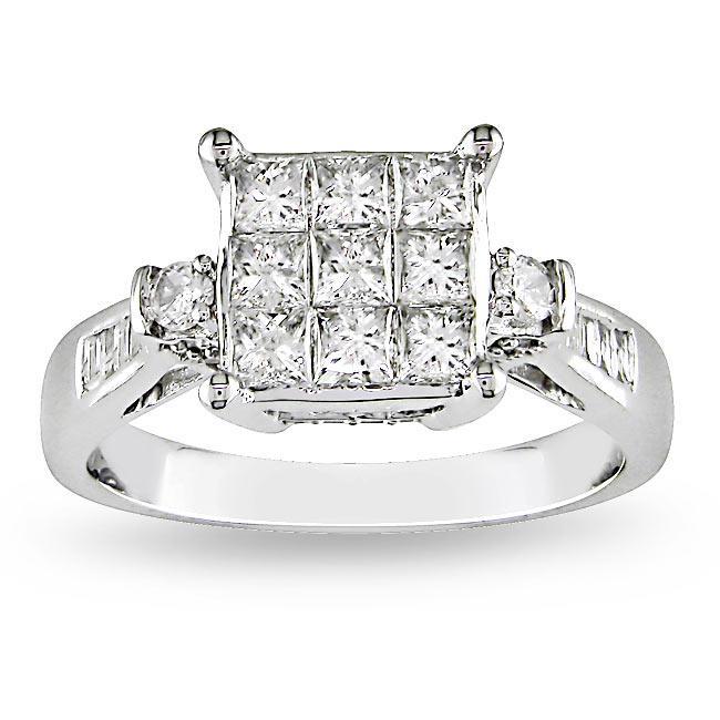 Miadora 14k White Gold 1 1/4ct TDW Diamond Ring