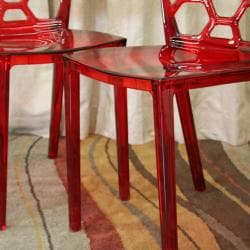 Honeycomb Red Acrylic Modern Dining Chair (Set of 2)