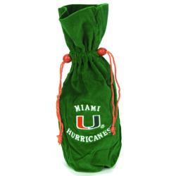 Miami Hurricanes 14-inch Velvet Wine Bottle Bag - Thumbnail 0
