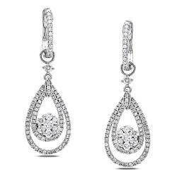 14k White Gold 1ct TDW White Diamond Dangle Earrings (G-H, SI1-SI2)