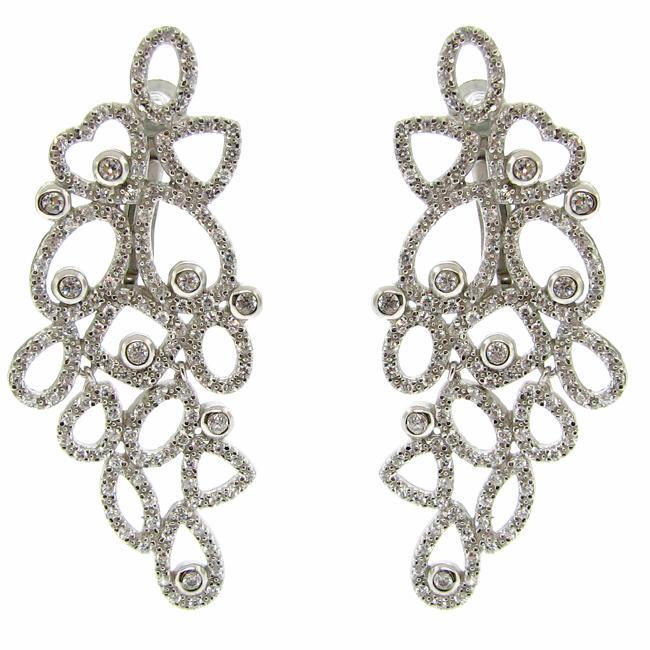 Sterling Silver Cubic Zirciona Dangle Earrings