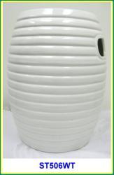 Multiple Ring White Ceramic Garden Stool Free Shipping