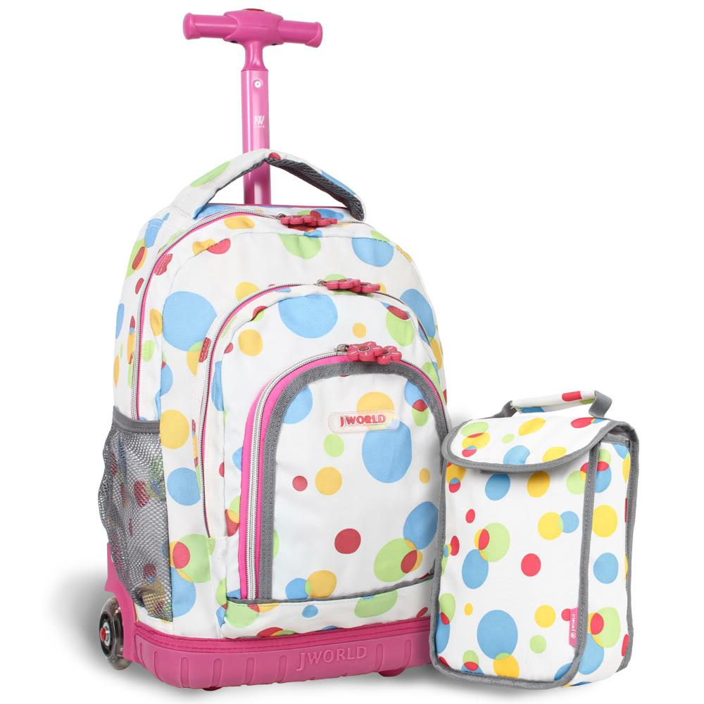 J World 'Lollipop' White Bubble Kids Rolling Backpack with Lunch ...