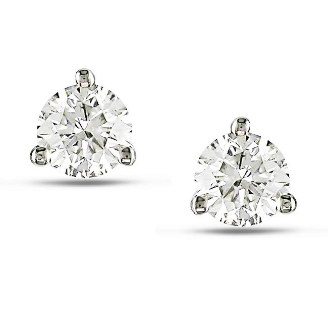 14k White Gold 1/2ct TDW Diamond Martini Stud Earrings (H-I, SI2)