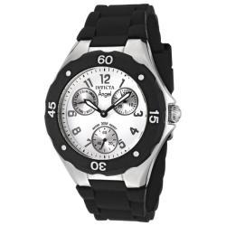 Invicta Women's 'Angel' White Dial Black Silicon Watch