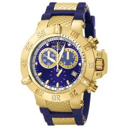 Invicta Men's 'Subaqua' Blue Rubber 18k Goldplated Chronograph Watch