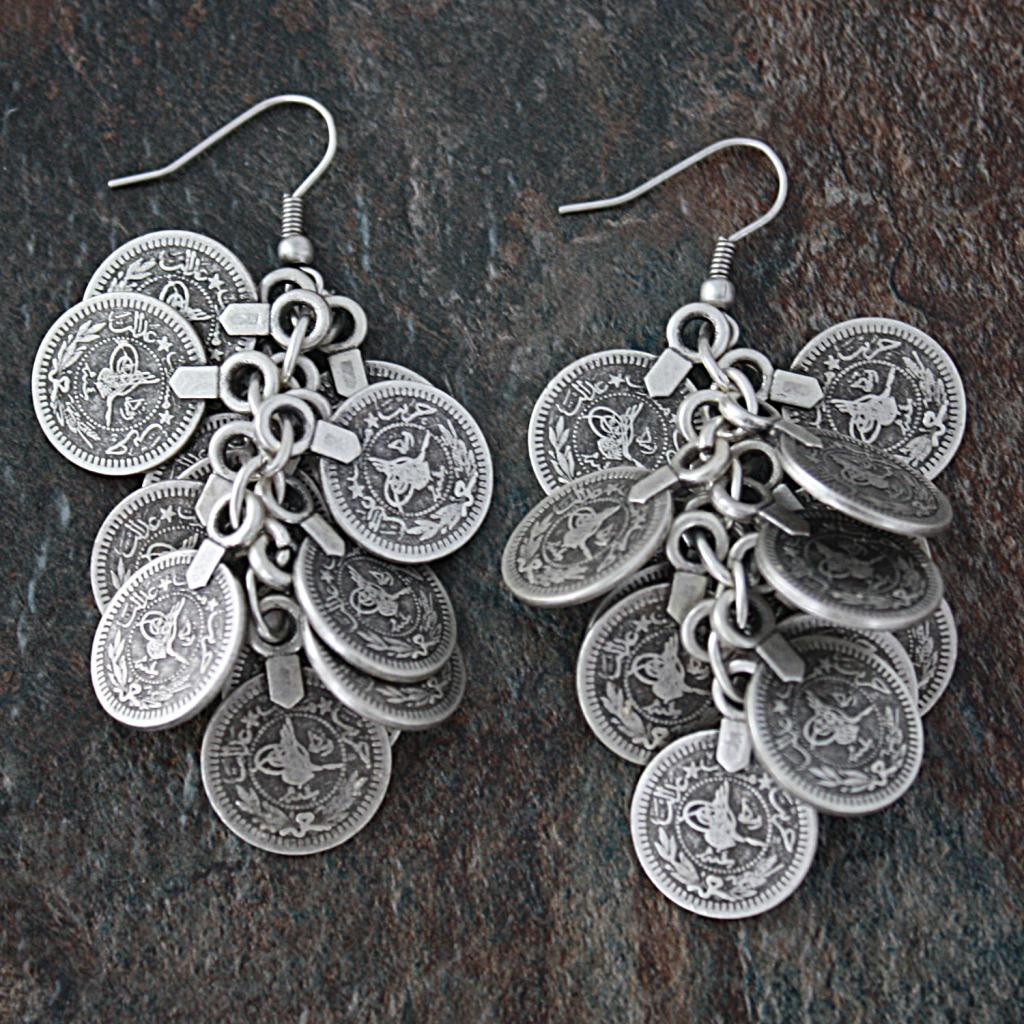 Silverplated Pewter Coins Vine Dangle Earrings (Turkey)