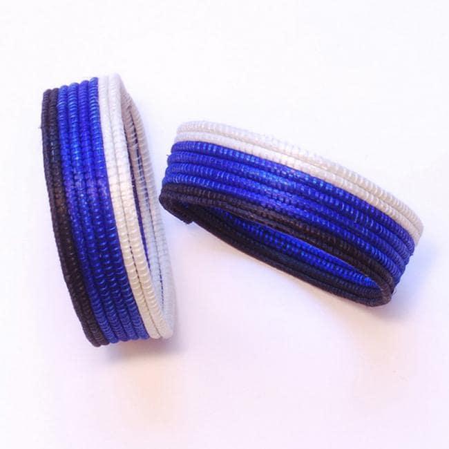 Sisal Fiber Blue, Black and White Woven Bracelet (Rwanda)