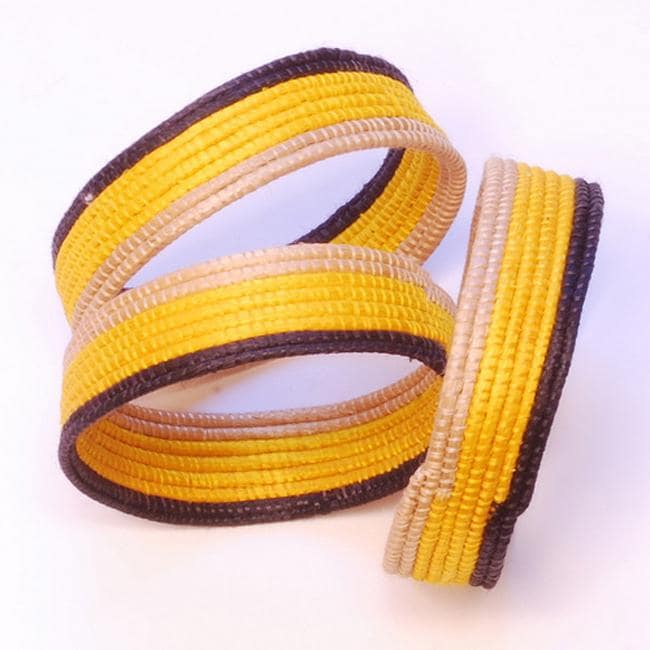 Sisal Fiber Yellow, Tea and Black Woven Bracelet (Rwanda)