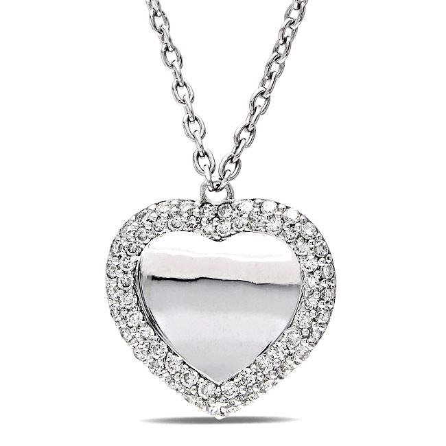 Miadora 18k White Gold 3/8ct TDW Diamond Heart Necklace (G-H, SI1-SI2)
