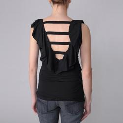 Coolwear Juniors Ruffled V-neck Cutout Back Top - Thumbnail 1