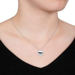 Miadora 18k White Gold 3/8ct TDW Diamond Heart Necklace (G-H, SI1-SI2) - Thumbnail 2