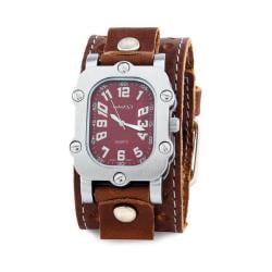 Nemesis Men's Classic Burgundy Rugged Leather Cuff Band Watch