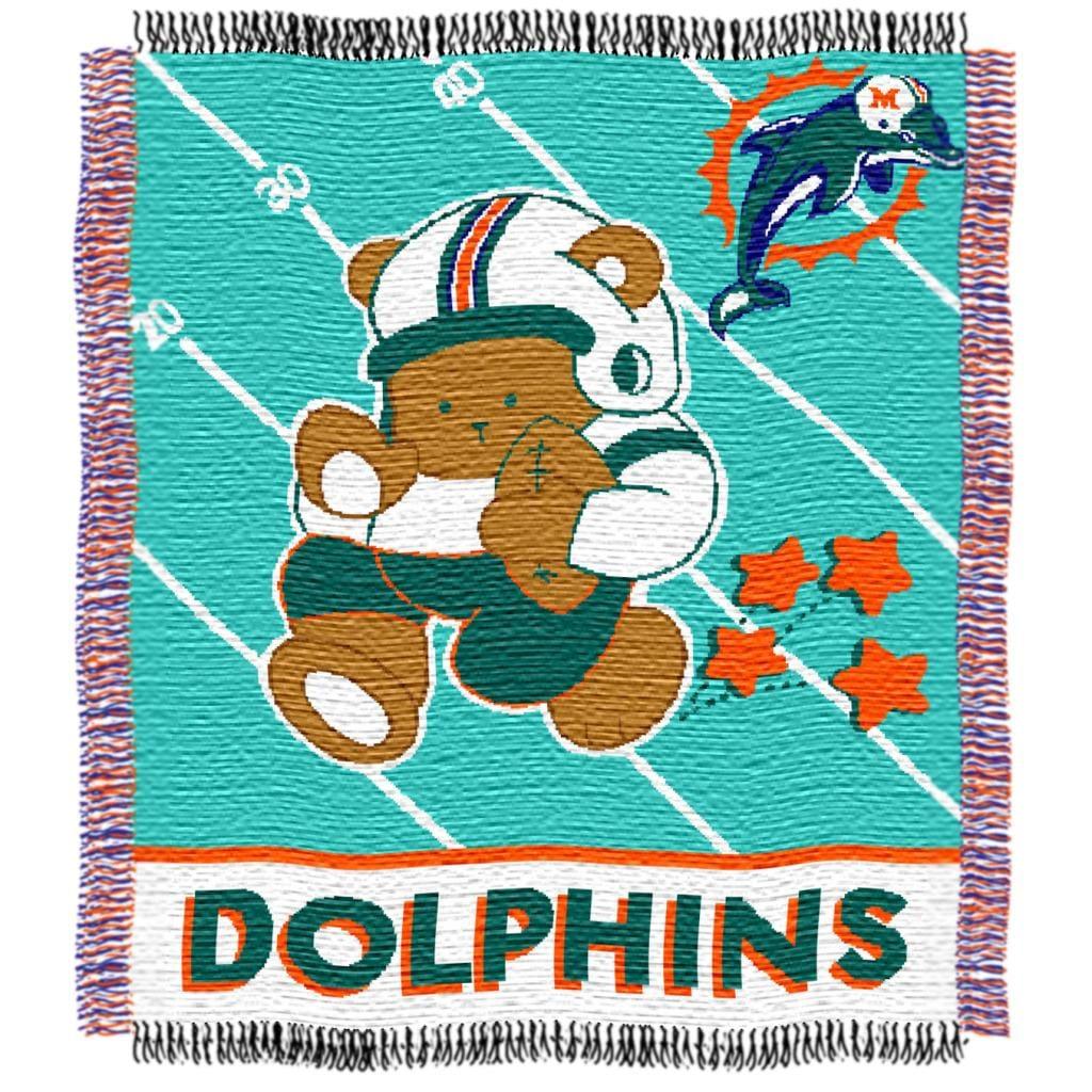 Northwest Miami Dolphins Woven Jacquard Acrylic Baby Blanket