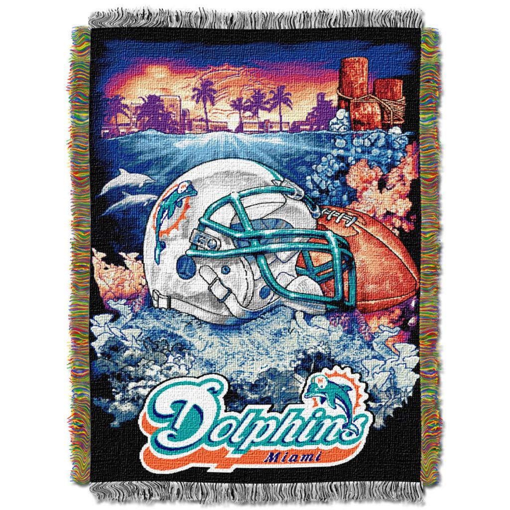 Northwest Miami Dolphins Homefield Tapestry Throw