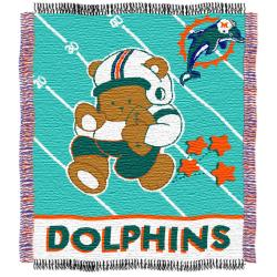Northwest Miami Dolphins Woven Jacquard Acrylic Baby Blanket - Thumbnail 2