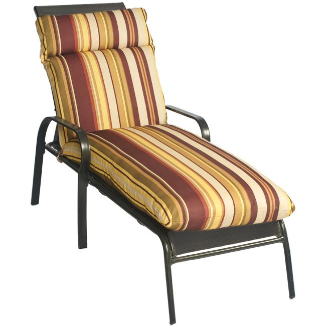 Bella stripe outdoor chaise lounge chair cushion free for Black and white striped chaise lounge cushions