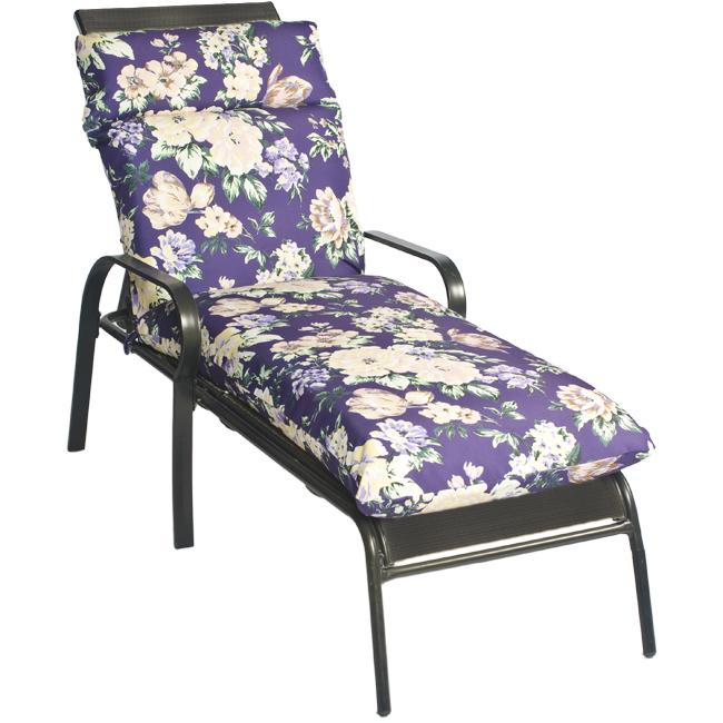 Pia Floral Outdoor Purple Chaise Lounge Chair Cushion
