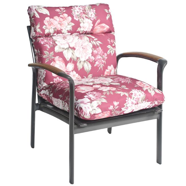 Mia Floral All-weather Outdoor Mauve/ Red Chair Cushion - Thumbnail 0