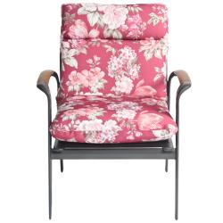 Mia Floral All-weather Outdoor Mauve/ Red Chair Cushion - Thumbnail 1