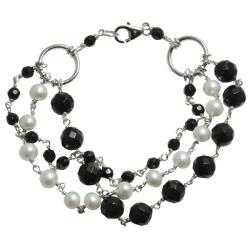 Pearls For You Black and White 3-Strand Freshwater Pearl Bracelet (6-7 mm)