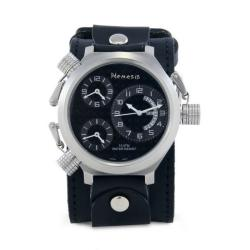 Nemesis Men's Signature 3 Time Zone Silver Black Leather Band Watch