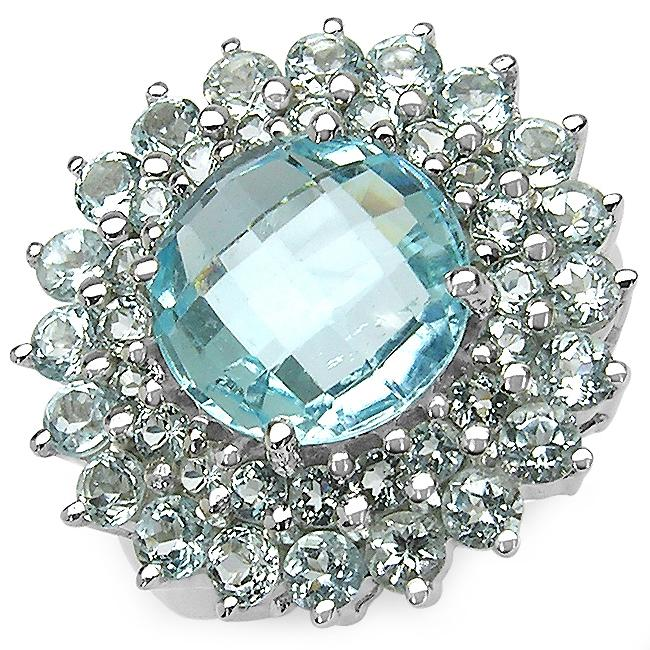 Malaika Sterling Silver Round-cut Blue Topaz Cluster Ring