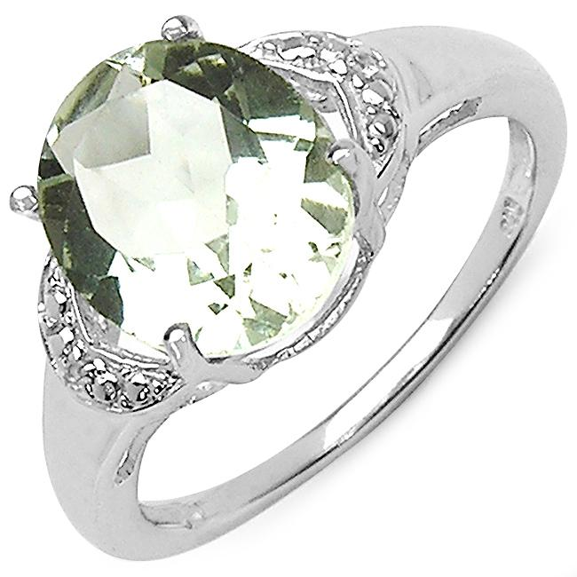 Malaika Sterling Silver Oval-cut Green Amethyst and White Topaz Ring