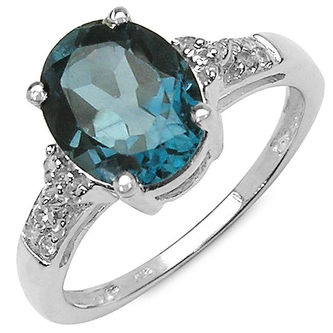 Malaika Sterling Silver Oval-cut London Blue Topaz and White Topaz Ring
