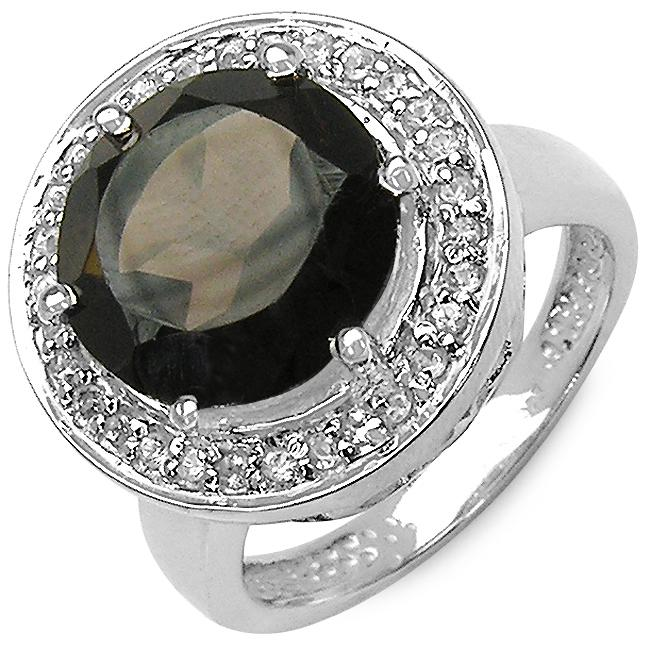 Malaika Sterling Silver Topaz and Smoky Quartz Ring