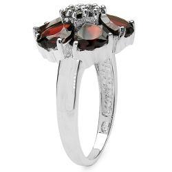 Malaika Sterling Silver Genuine Garnet Hearts Ring - Thumbnail 1